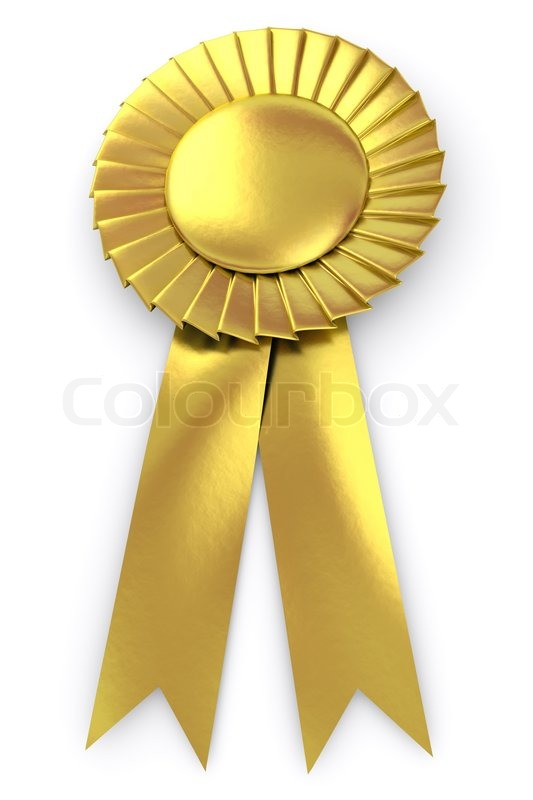gold seal with ribbon isolated on white stock photo colourbox