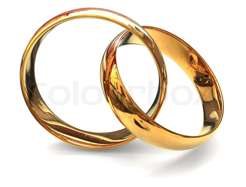 Two Golden Ring on white background | Stock Photo | Colourbox