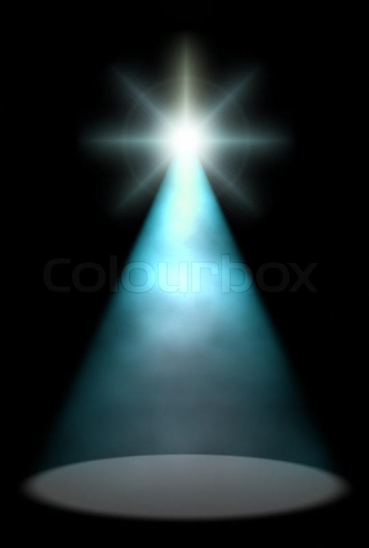 Blue Stage Light On Dark Background With Flare