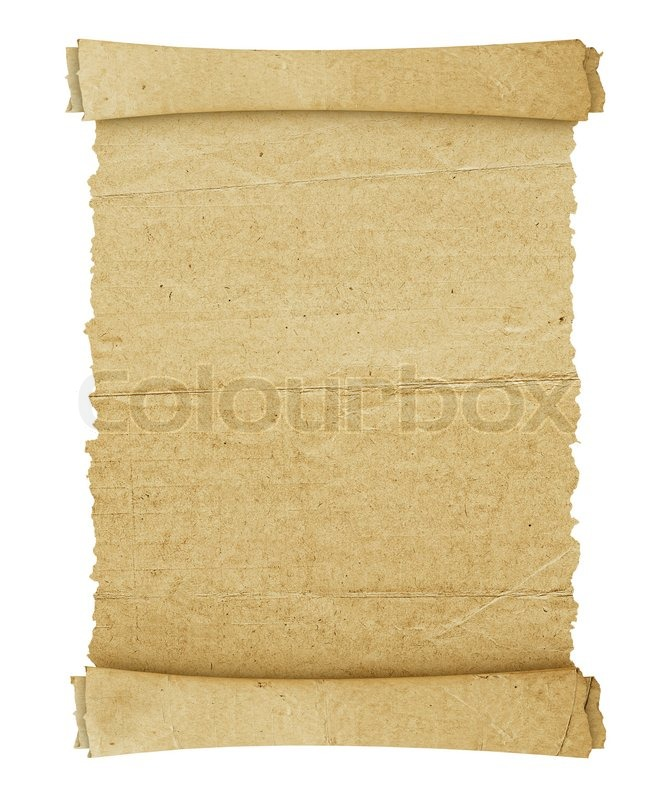Vintage roll of parchment background isolated on white, stock photo