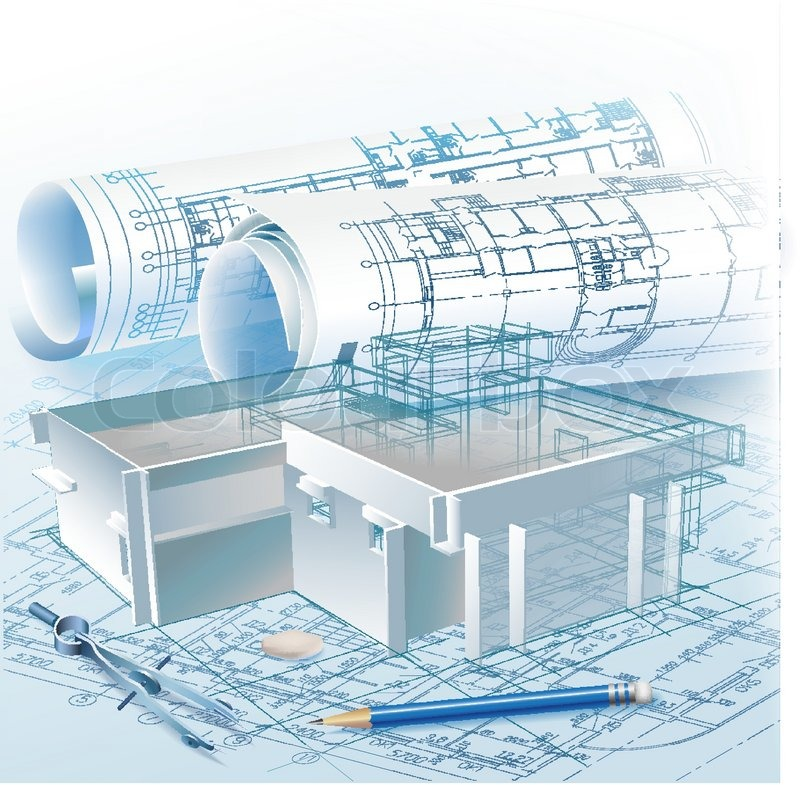Architectural background with a 3d building model and for Architectural drawings online