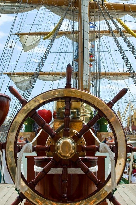 Old ship wheel   Stock Photo   Colourbox