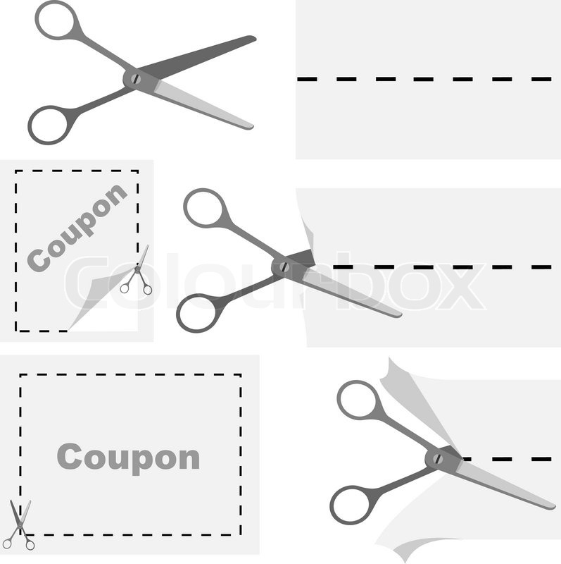 Vector Illustration Of Scissors Cutting Out Advertising Coupon. No  Gradients Or Effects.   Stock Vector   Colourbox