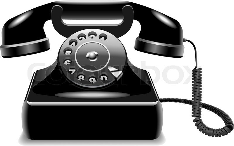 vector illustration of realistic outdated black telephone