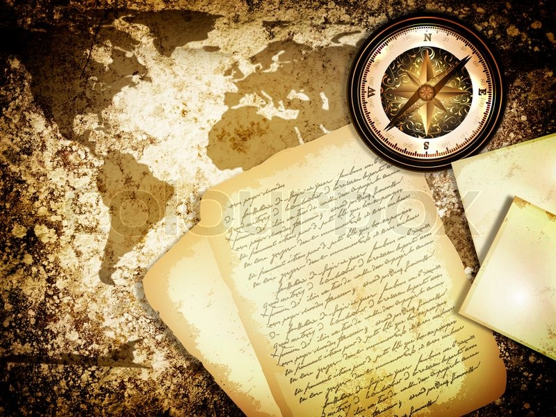 ... travel background with world map, compass and old letter, stock photo