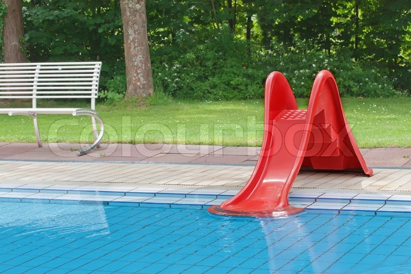 Childrenu0027s Pool With Slide, Stock Photo
