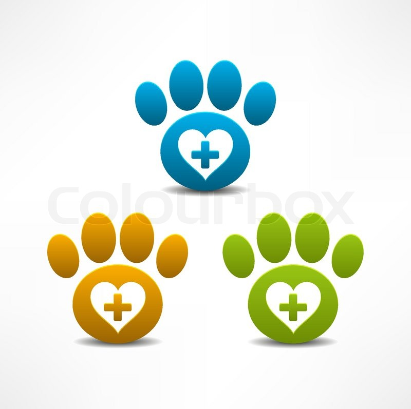 veterinary clinic symbol animal paw print stock vector
