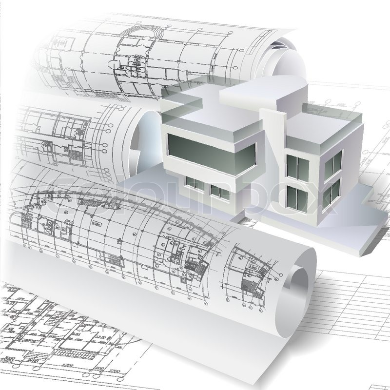 Architectural background with a 3D building model. Vector clip-art ...