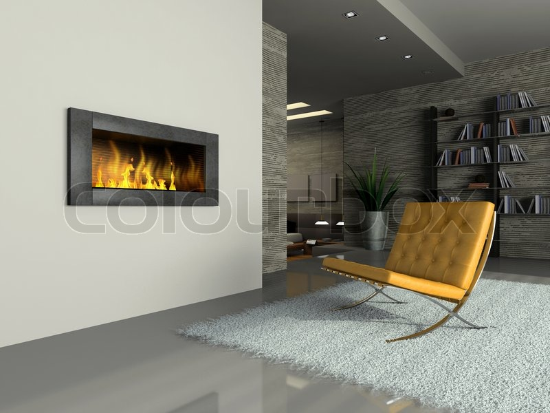 View on the modern apartment with fireplace | Stock Photo | Colourbox