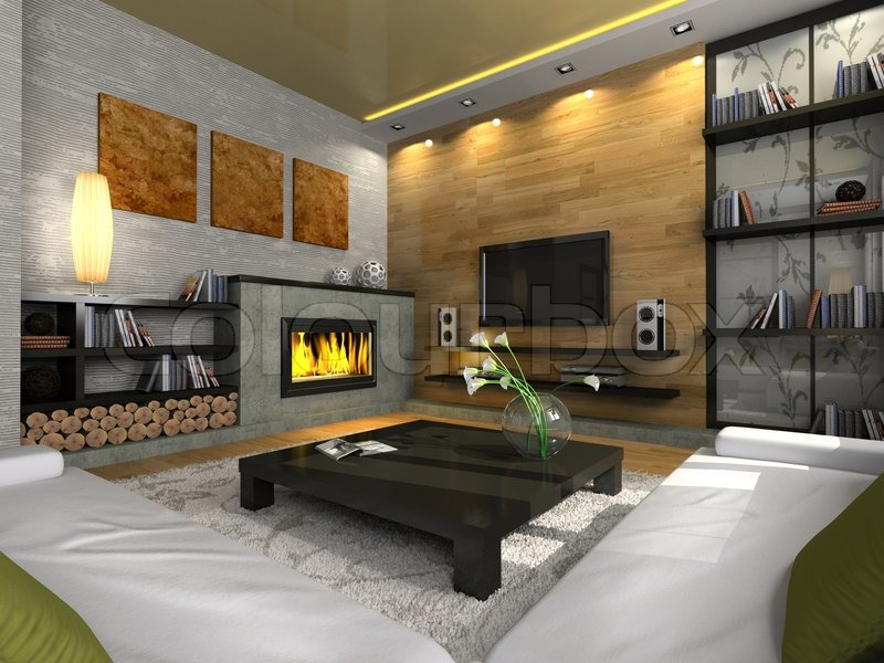 "Buy the royalty-free stock image ""View on the modern apartment with fireplace"" online ? All image rights included ? High resolution picture for print"