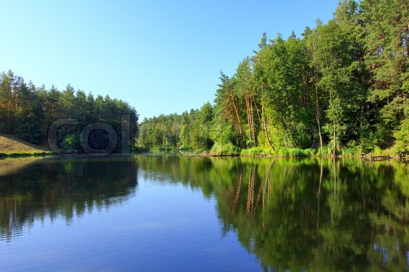 Tranquil landscape with a lake and pine forest stock photo colourbox - Impressive house with tranquil environment to get total relaxation ...