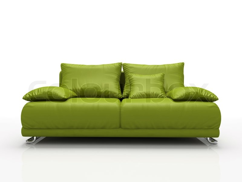 Pleasing Green Leather Sofa Isolated On White Stock Image Machost Co Dining Chair Design Ideas Machostcouk