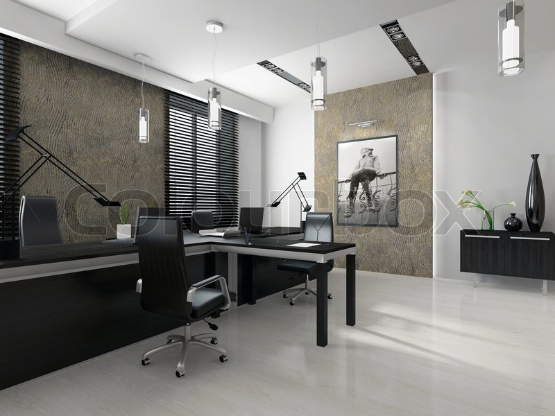 interior of office. interior of the modern office 3d rendering