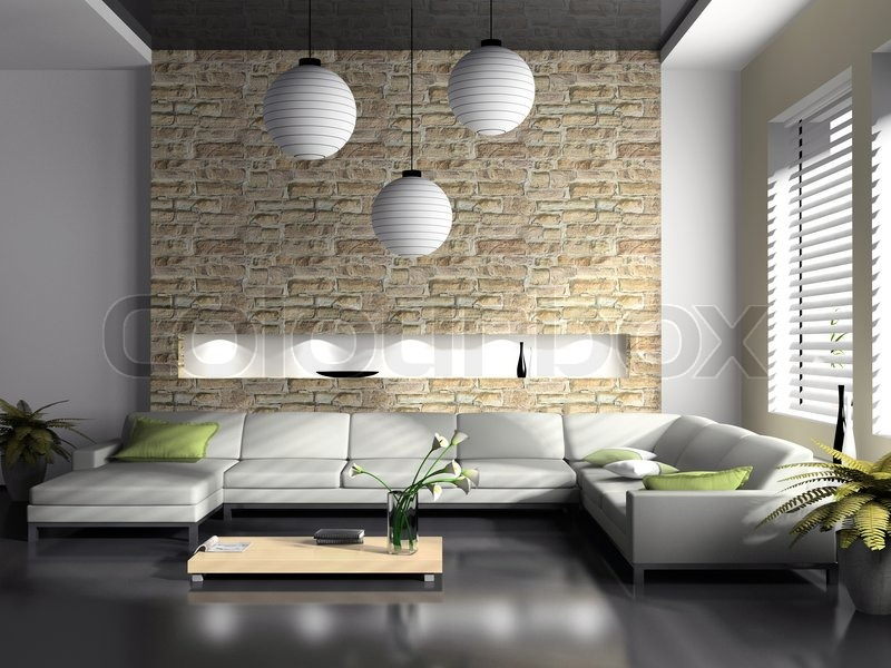 Modern Interior Of Drawing Room 3D Rendering, Stock Photo