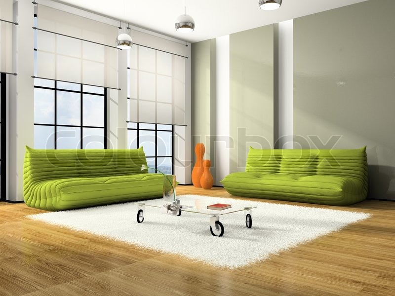 Modern Interior With Green Sofas And White Carpet | Stock Photo | Colourbox