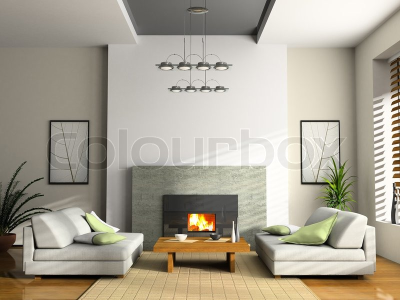 Home interior with fireplace and sofas 3D rendering | Stock Photo ...