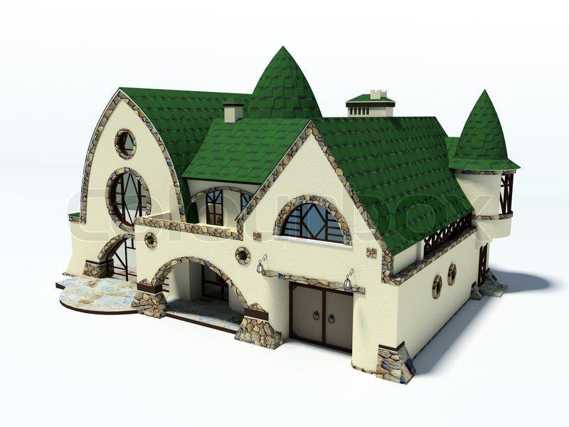 haus mit gr ndach auf wei em hintergrund 3d rendering stockfoto colourbox. Black Bedroom Furniture Sets. Home Design Ideas