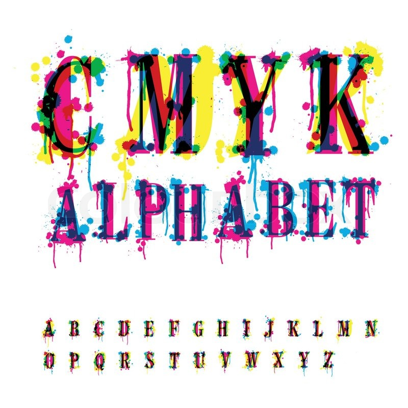 CMYK-Alphabet-Komposition aus nicht erkannten verschiedene ...