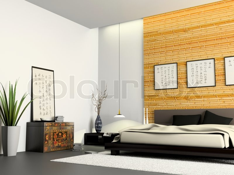 Interior of modern bedroom with Chinese furniture 3D rendering  stock photo. Interior of modern bedroom with Chinese furniture 3D rendering