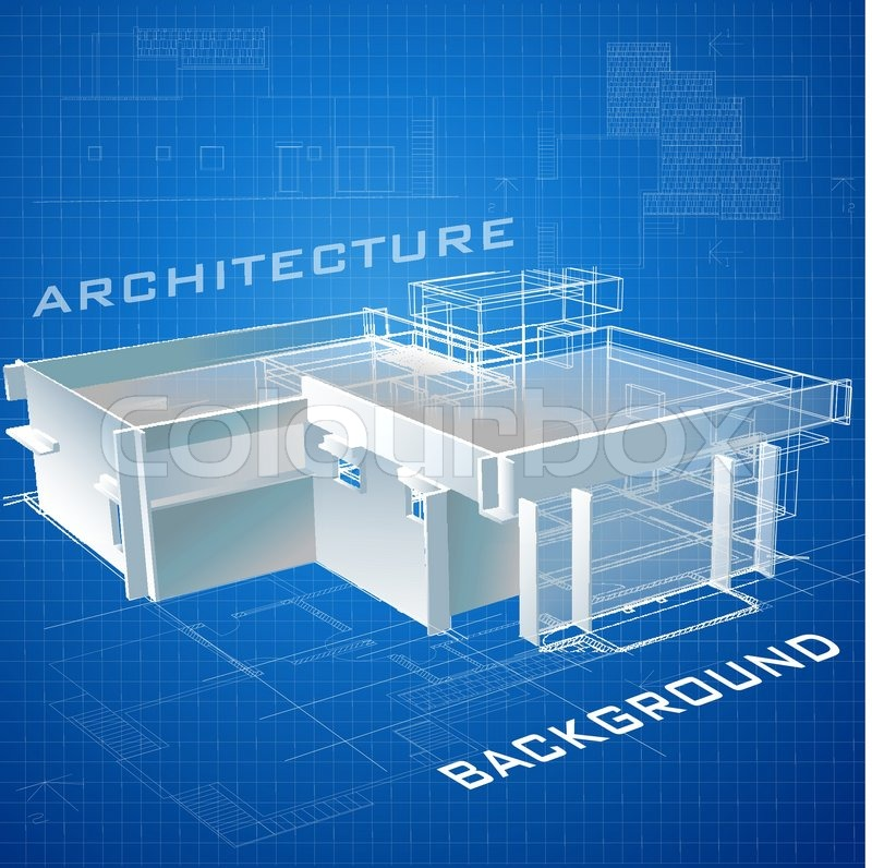 Urban blueprint vector architectural background with a 3d stock vector of urban blueprint vector architectural background with a 3d building malvernweather Gallery