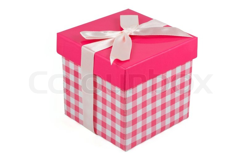 Pink gift box with bow | Stock Photo | Colourbox