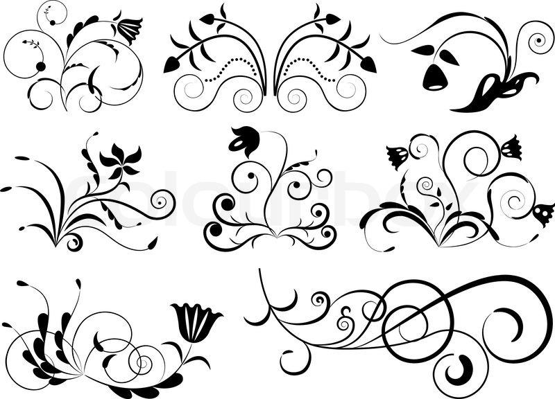 black and white floral design elements stock vector colourbox. Black Bedroom Furniture Sets. Home Design Ideas