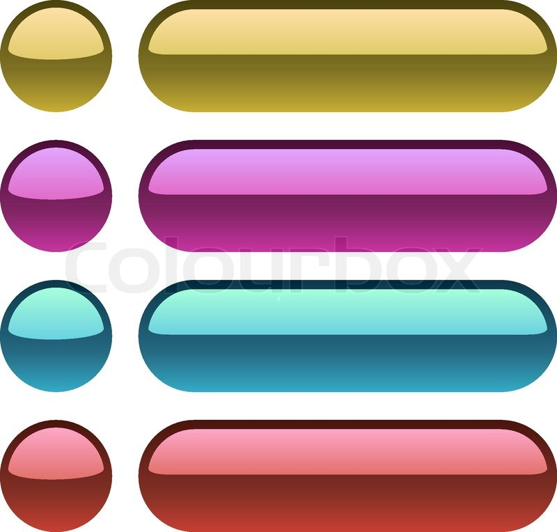 Color plastic rectangular buttons for web design. | Stock Vector ...