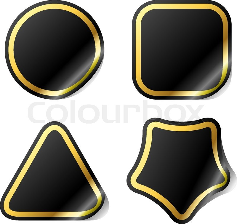 Blank black stickers with golden frame. | Stock Vector | Colourbox