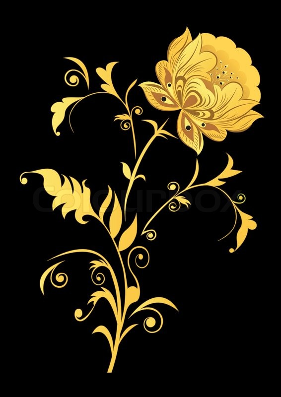 Yellow decorative flower on black background stock vector colourbox mightylinksfo
