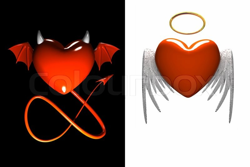 red heart devil and red heart angel with wings isolated stock