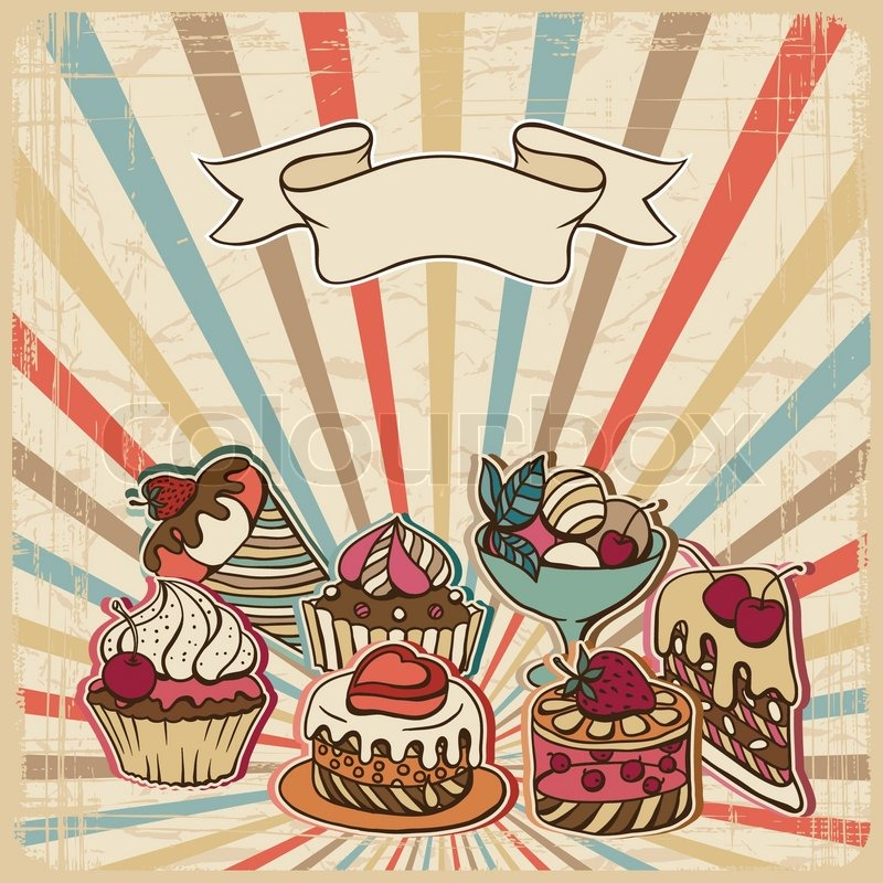 Vector background with of cake in retro style vintage card stock vector colourbox - Retro stuhle gunstig ...