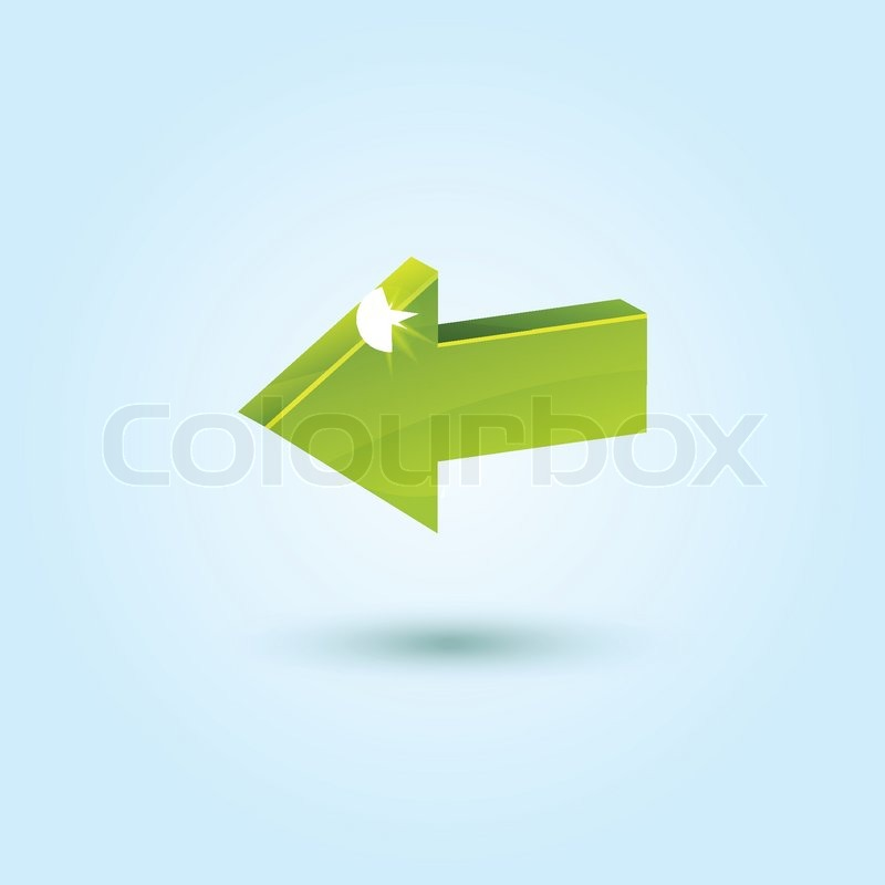 Green Left Arrow Symbol Isolated On Blue Stock Vector Colourbox