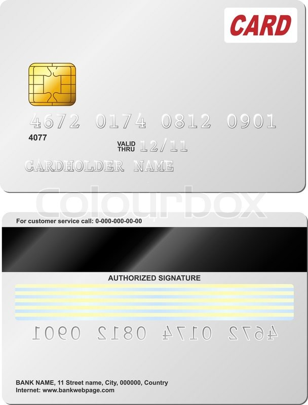 Blank Credit Card Vector Template Front And Back View Stock - Blank visa credit card template