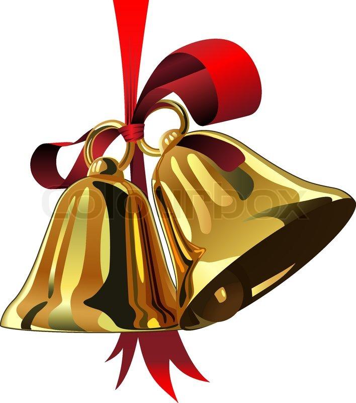 paar weihnachten glocken h ngen rote schleife isoliert auf. Black Bedroom Furniture Sets. Home Design Ideas