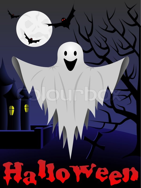 Halloween card with flying ghost and castle and tree in the ...