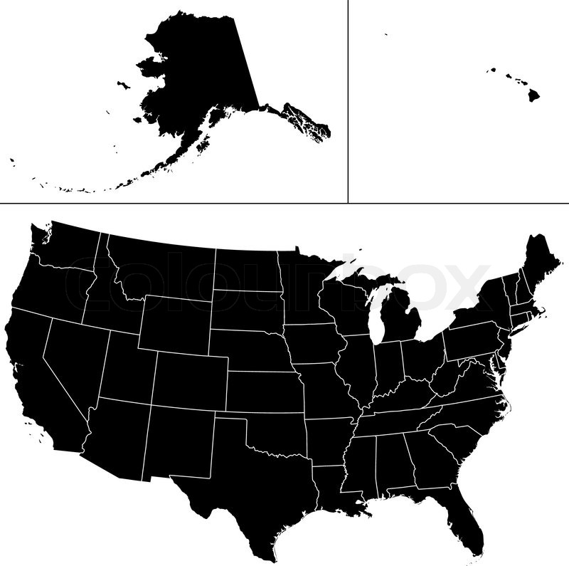 Detailed Vector Shape Of The Unites States Of America Including - Us map including alaska and hawaii