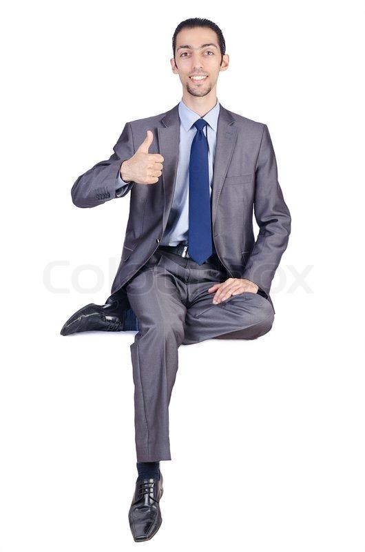 Man Sitting On Virtual Chair Stock Photo Colourbox