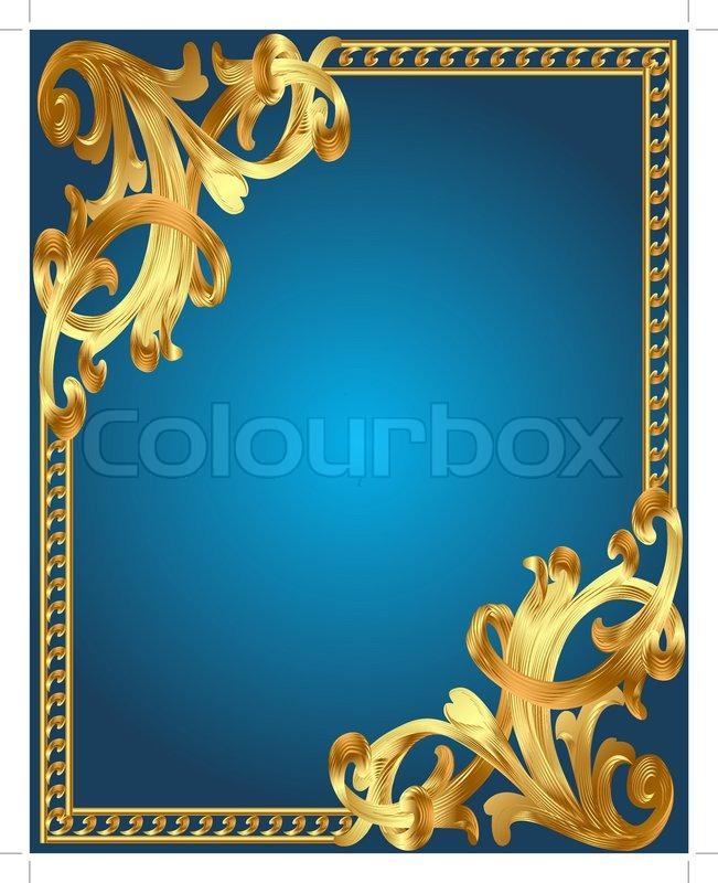 Blauer Hintergrund Rahmen mit goldenen pflanzliche ornament ...