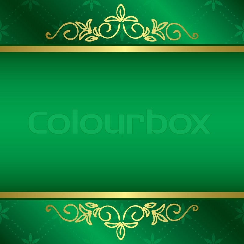 Bright Green Card With Floral Gold Decorations