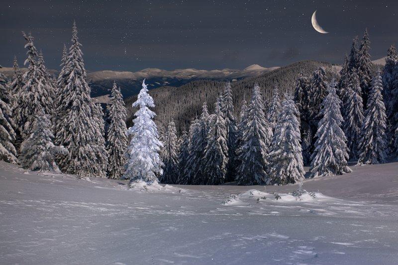 winter snow mountain moon - photo #17