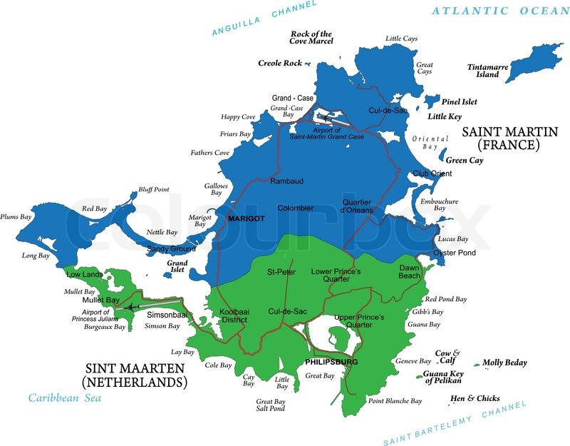 Karibik Karte.Karte Der Karibik Insel Saint Martin Stock Vektor Colourbox