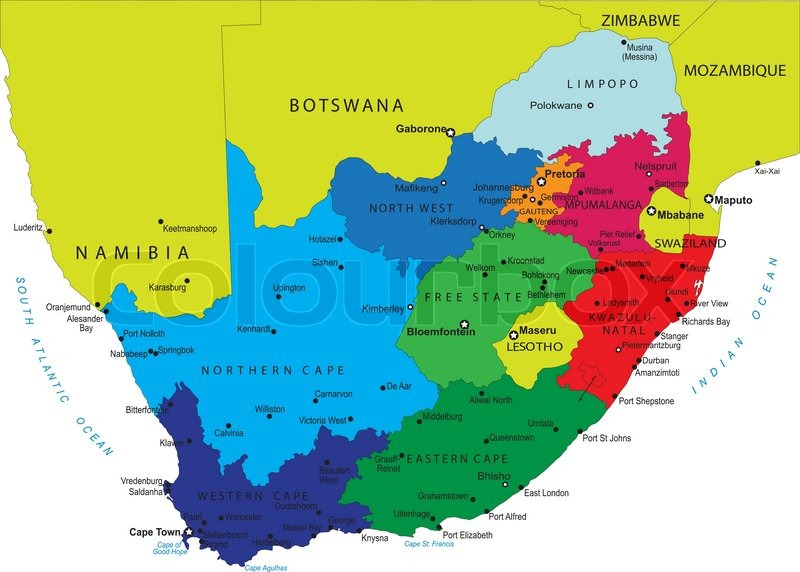 South Africa Political Map With Provincial Boundaries Stock - Lesotho political map