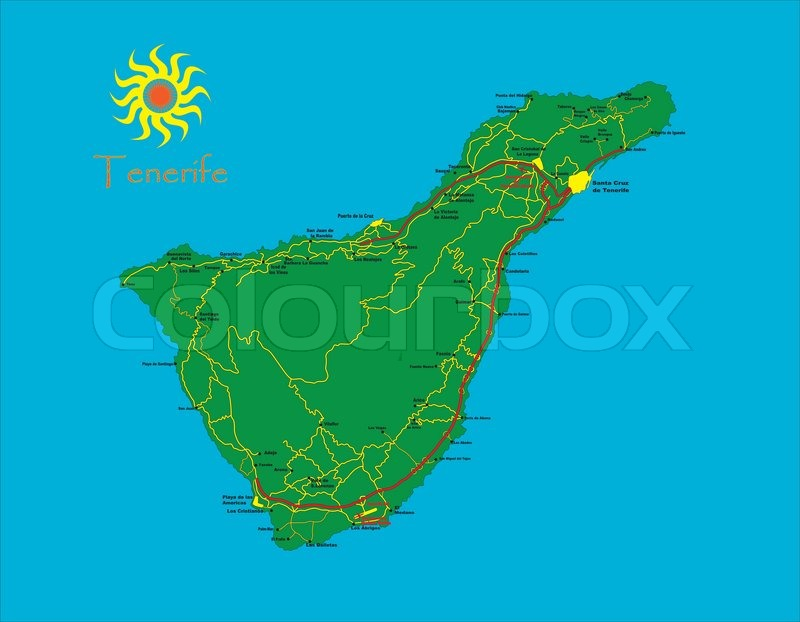 Tenerife map   Stock Vector   Colourbox
