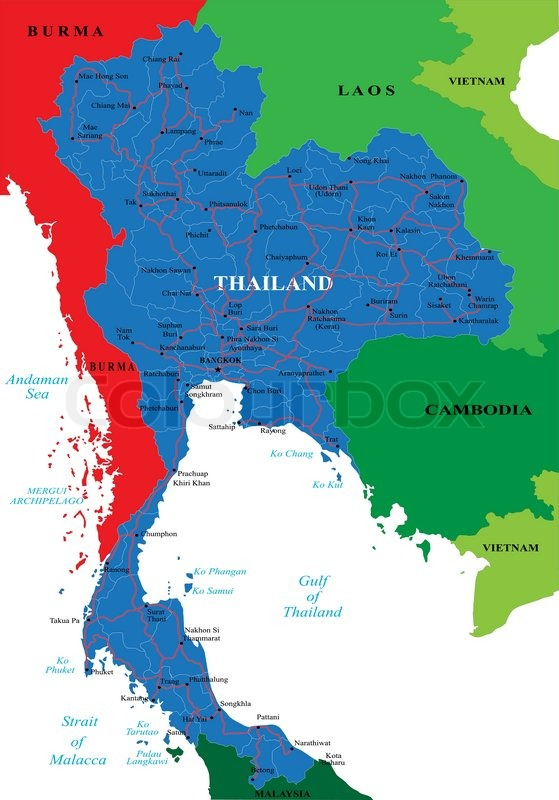 Highly detailed vector map Thailand of with administrative