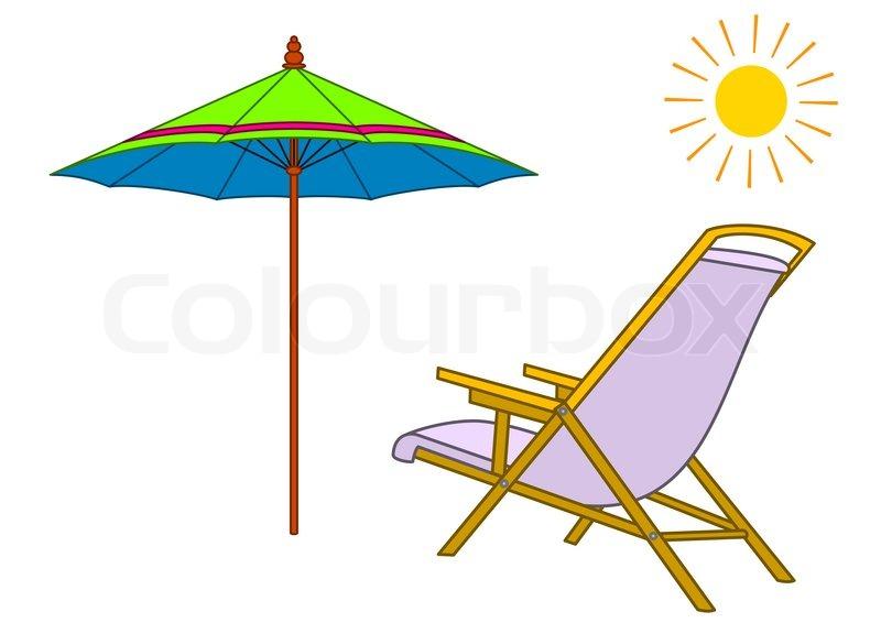 Sonnenschirm strand clipart  Strand Chaise Lounge, Sonnenschirm und Sonne   Stockfoto   Colourbox