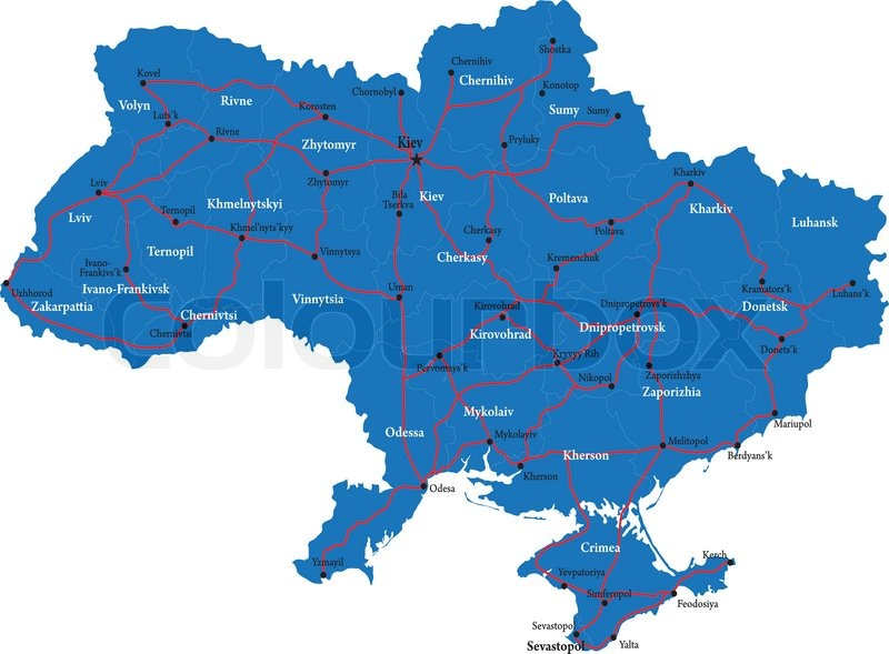 Highly detailed vector map Ukraine of with administrative regions