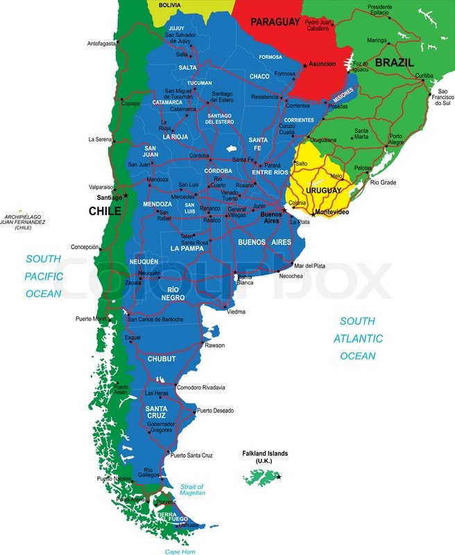 Highly detailed vector map Argentina of with administrative regions