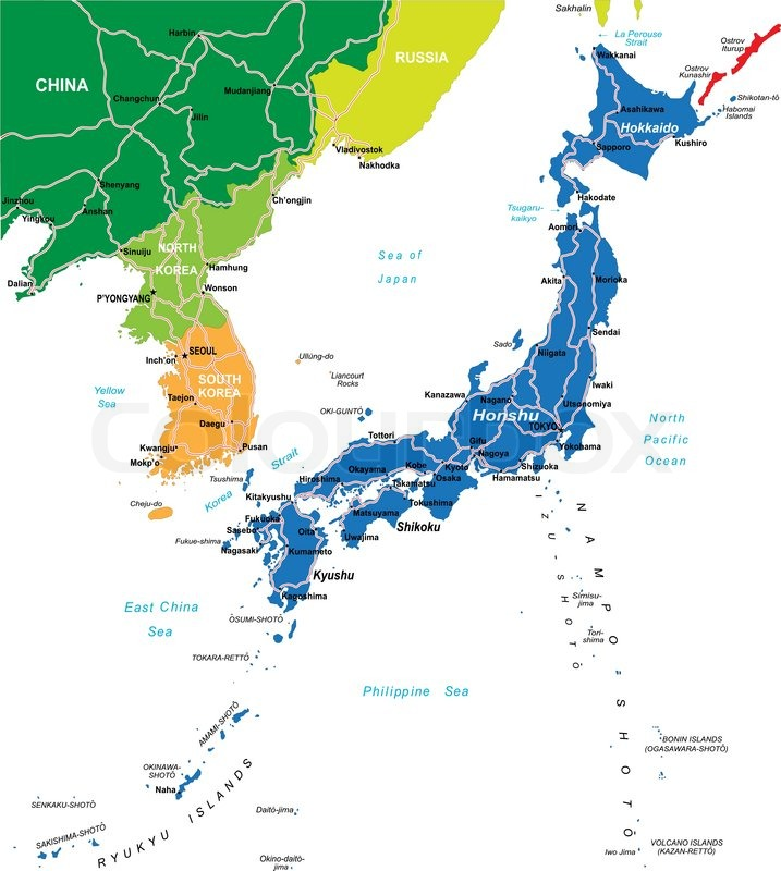 Highly detailed vector map Japan of with administrative regionsmain