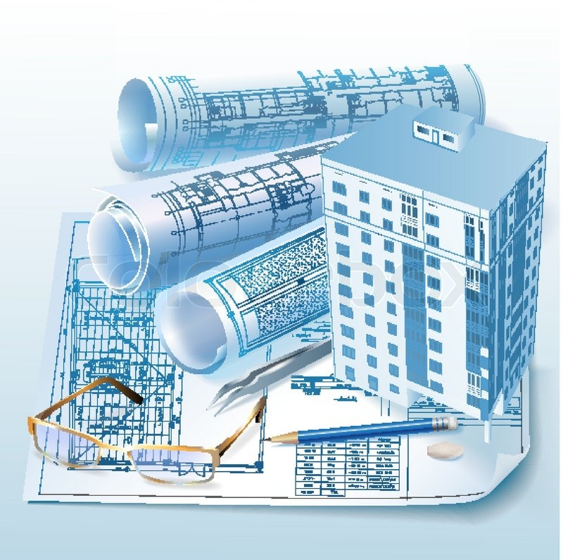 Architectural background with a 3d building model and rolls of architectural background with a 3d building model and rolls of drawings vector clip art stock vector colourbox malvernweather Images