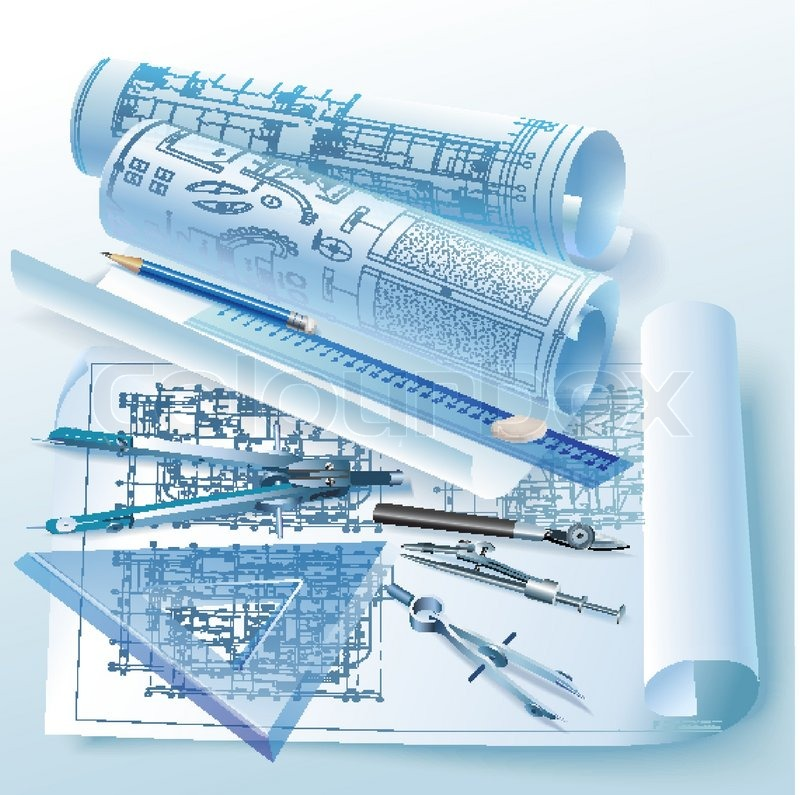 Architectural Drawing Background architectural background with drawing tools and rolls of drawings